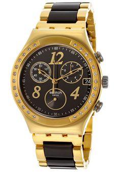 Swatch Women's Irony Chronograph Black Dial Gold Tone IP Stainless Steel & Black ResinSwatch YCG405G Watch