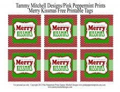 Free Printable tag and gift ideas Merry Kissmas Pink Peppermint Design - Entertain Christmas Tags Printable, Free Printable Tags, Free Printables, Diy Party Crafts, Craft Party, Xmas Crafts, Merry Christmas, Christmas Holidays, Christmas Gifts