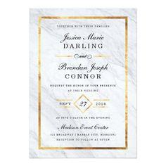 Elegant Modern Marble & Gold Wedding Invitations
