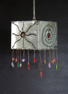 Handmade pendant lamp made of pewter coated copper and handmade glass beads. Handmade Lamps, Pendant Lamp, Pewter, Washer Necklace, Tin, Glass Beads, Copper, Symbols, Jewelry