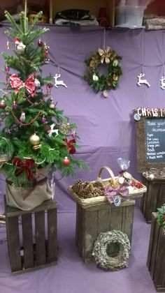 Shop window display for Xmas by Jenny, Level 2 Diploma floristry
