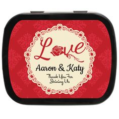 Commemorate your Valentine Wedding with Lace Love Personalized Wedding Mint Tins #weddingfavors #valentineideas #ediblefavors