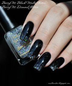 nailbamboo: BarryM Preto multi Glitter e BarryM Diamante Glitter