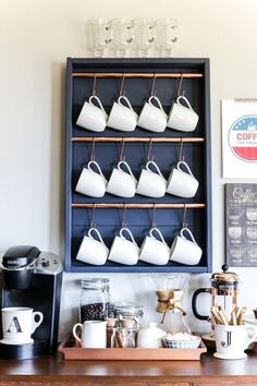 How to make a DIY coffee bar in one afternoon for about $25! Coffee Mugs, Coffee Nook, Coffee Carts, Coffee Club, Coffee Corner, Coffee Barista, Coffee Lovers, Coffee Maker, Diy Coffee Shelf