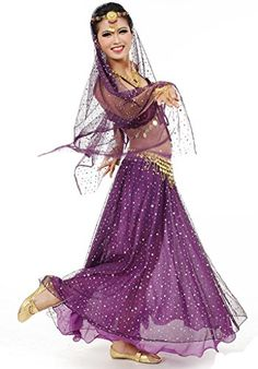 2d5045a75a Beverly Womens Gold Coins Belly Dance Costume Set 4 Pieces purple * To view  further for