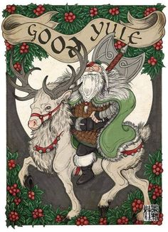 A Viking version of 'Twas the Night Before Christmas - by Skade of the Norwegian Fish Club Odin. Alternate title 'Twas the Night Before Yule. Samhain, Pagan Yule, Pagan Art, Christmas Images, Christmas Art, Vintage Christmas, Viking Christmas, Vikings, Yule Celebration