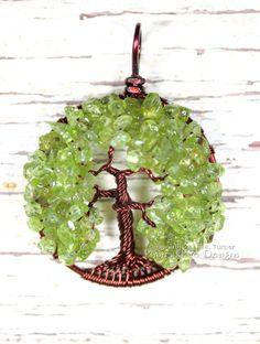 Brown Oak Tree Tree of Life Pendant, Peridot Gemstone, Wire Wrapped, Statement Necklace, Angel Oak