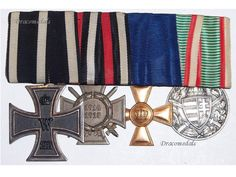 Germany WW1 4 Medals EK2 Iron Cross Service Hindenburg Hungary Pro Deo 1914 1918 | eBay