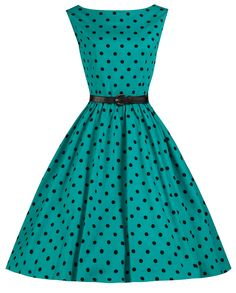 Lindy Bop 'Audrey' Turquoise Polka Dot Vintage 1950's Inspired Swing/Jive Dress (XS, Turquoise)