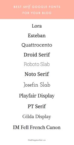 Best Serif Google Web Fonts For Your Blog