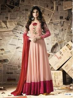 Light pink embroidered georgette salwar with dupatta