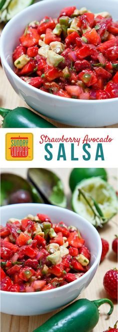 This lovely salsa will perk up whatever you've got planned for dinner. It goes great with chicken, fish and beef. Of course, you could just eat it with chips too. We won't tell. #SundaySupper #FLStrawberry