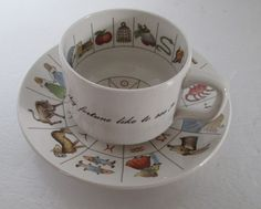 Zodiac Tea Leaf Reading Taltos Cup Saucer England Vintage Tasseography by RetroExchange on Etsy