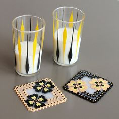 Coasters handmade thousand of ironed plastic beads by Leminussieu, €36.00