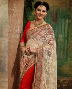 Buy Excellent Cream And Maroon Wedding Saree online at $84.13 [APRC77015]