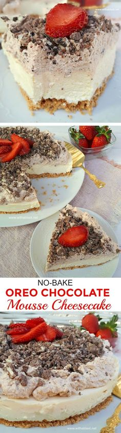 This No-Bake Cheesecake had my family raving ! Crust, Cheesecake layer, Chocolate Mousse and more Chocolate ! Easy Cheesecake Recipes, Best Dessert Recipes, Sweet Desserts, Easy Desserts, Cookie Recipes, Delicious Desserts, Baking Desserts, Healthy Desserts, Cobbler