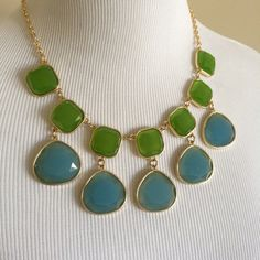 "Host Pick  Statement Necklace Beautiful blue and green lucite drop necklace. Adjustable length varies from 16""- 18"". Never worn- with gift box.  Talbots Jewelry Necklaces"