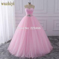 Wuzhiyi Quinceanera Dresses 2018 Pink Ball Gown vestidos de festa longo 15  anos Sweet 16 Dress 634352f77c69