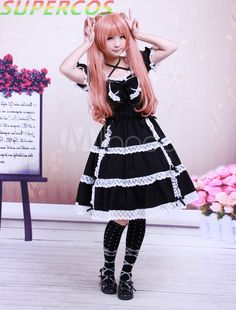 >> Click to Buy << Free shipping! New Arrivals! High Quality! Cotton Black Lace Bow Short Sleeves Gothic Lolita Dress #Affiliate