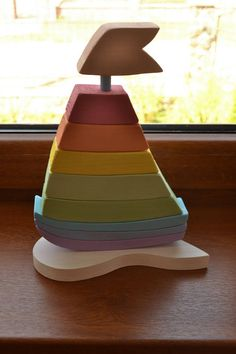 Pastel Rainbow Stacker of Pastel Wood Blocks rnrnSource by emmavillagomezvalverde Ciel Pastel, Making Wooden Toys, Diy Wooden Toys For Babies, Diy Wooden Toys Plans, Stacking Toys, Wooden Ship, Waldorf Toys, Montessori Toys, Kids Wood