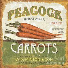 Kitchen: Vintage Signs - Featured Images - Retro Veggie Label 2  by Debbie DeWitt