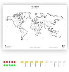 Design Weltkarte als Poster mit Pins