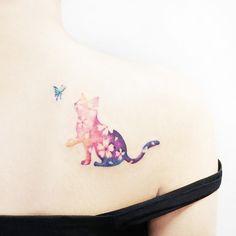 tattooist IDA Seoul, Korea - My most beautiful tattoo list Girly Tattoos, Mini Tattoos, Classy Tattoos, Cute Tattoos, Body Art Tattoos, Small Tattoos, Watercolor Butterfly Tattoo, Borboleta Tattoo, Kitten Tattoo