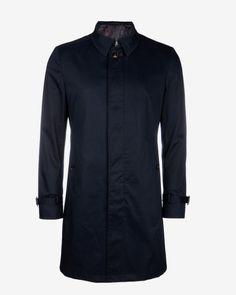 Showerproof sateen mac coat - Navy | Jackets & Coats | Ted Baker UK