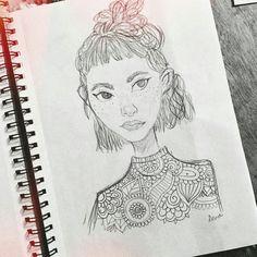 Tiny girl 😋 .  #draws #drawings #art #pinterest