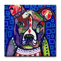 American Pit bull Terrier Art Tile - Ceramic Coaster Tile - Pitbull Dog Art