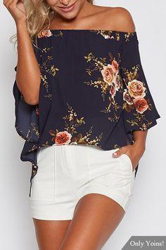 Random Floral Print Off Shoulder Splited Blouse