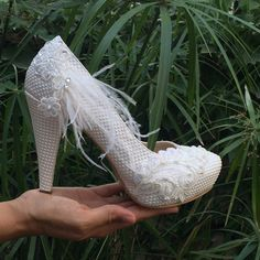 Wedding shoes with lace and feather Ivory Wedding by KILIGDESIGN
