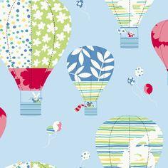 Colorful Hot Air Balloons Wallpaper - RosenberryRooms.com