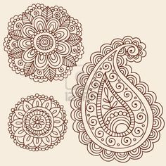 Hand-Drawn Henna Mehndi Tattoo Flowers and Paisley Doodle  Illustration Design Elements Stock Photo