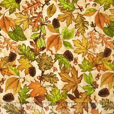 Shades of Autumn - Leaf Tuss Cream Yardage - Dan Morris - RJR Fabrics