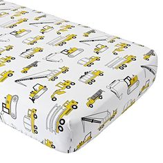 This construction crib bedding is ready to lay the foundation for a good night's sleep. That's because the quilt is adorned with some of kids' favorite big machines, including bulldozers, cranes and more. Boys Construction Room, Construction Birthday, Crib Bedding Boy, Crib Sheets, Comforter, Bedding Sets, Fitted Sheets, Baby Boy Nurseries, Modern Nurseries