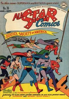 BAT-HISTORY, AUG Honorary members Superman and Batman made a rare Justice Society of America guest appearance in All Star Comics as they filled in for regular team members Johnny Thunder and The Atom, respectively. Dc Comic Books, Vintage Comic Books, Vintage Comics, Comic Book Covers, Comic Art, Star Comics, Dc Comics Art, Batman Comics, Batman And Superman
