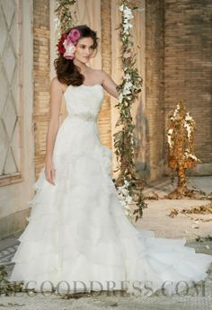2014 Allure A-line Cathedral Train Strapless Beading Wedding Dresses
