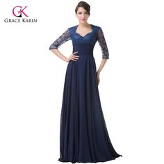 Elegant Formal Evening Dresses Grace Karin Chiffon Lace Half Sleeves Long Navy Blue Mother Of The Bride Dresses Party Gowns 6234