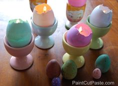 Don't just dye #Easter eggs this year. Transform them into charming candles that bring a bit of color to your table.