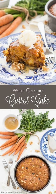 If you thought carrot cake with cream cheese frosting was good, wait until you try this delicious Warm Caramel Carrot Cake à la mode! It's mind-blowing! Cupcakes, Cupcake Cakes, Cupcake Recipes, Dessert Recipes, Just Desserts, Delicious Desserts, Moist Cakes, Cake With Cream Cheese, Easter Recipes