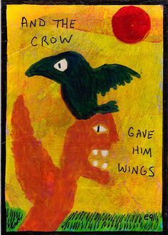 and the crow gave him wings e9Art ACEO Outsider Art Primitive Painting Original  #OutsiderArt