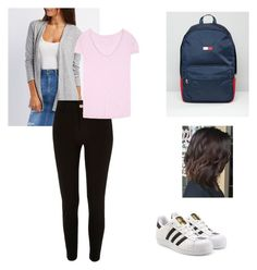 """""""first day of school"""" by jennifermendoza10 on Polyvore featuring Charlotte Russe, River Island, True Religion, adidas Originals and Tommy Hilfiger"""