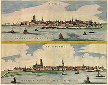 Stadsgezicht van Tiel en Zaltbommel (1649), naar de Atlas van Joan Blaeu