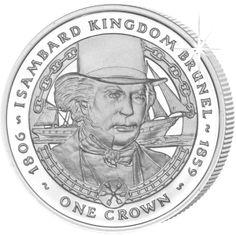 This beautiful proof sterling silver collector's coin from the Falkland Islands shows Isambard Kingdom Brunel. Isambard Kingdom Brunel, Sailing Ships, Islands, Coins, Canada, Money, Sterling Silver, History, Paper