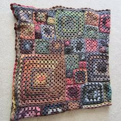 crochet granny squares cushion/pillow - beautiful subdued colours!