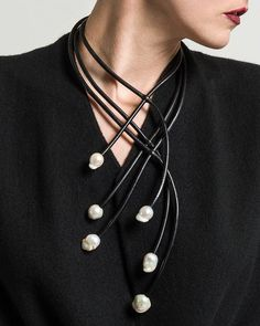 Sculptural. @monies_official _ Monies Ebony Cuff Asymmetrical Bracelet Monies UNIQUE Asymmetric 6 Pearl Necklace Monies Short Radial Ebony and Leather Necklace #necklace #necklaces #necklacechoker #necklacechain #necklacecase #necklacechanel