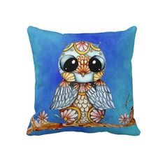Whimsical Colorful Owl Throw Pillow by SimonaMereuArt  $66.95  #owl #art #pillow #gift