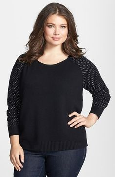 DKNYC Studded Pullover (Plus Size). $109.00. #fashion #women #top #plus size fashion for women