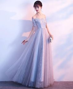Gray tulle lace off shoulder long prom dress, gray evening dress Grey Evening Dresses, Elegant Dresses, Pretty Dresses, Beautiful Dresses, Gold Bridesmaid Dresses, Prom Dresses, Formal Dresses, Tulle Lace, Dream Dress